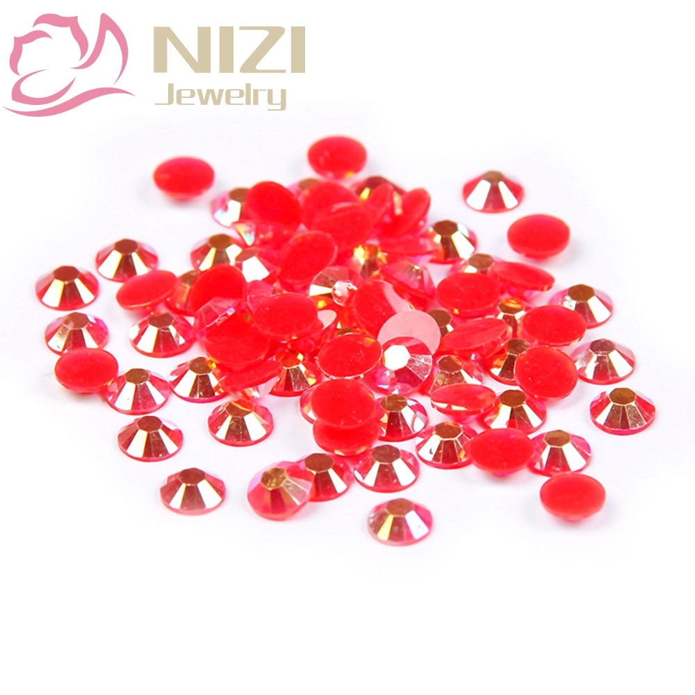 Crystal Resin Non Hotfix Round Flatback Rhinestones For 3D Nail Art Decorations Glitter Stone 2-6mm Red AB Color 2016 New Design mix ss3 ss30 crystal ab and clear shinning designs non hotfix flatback nail rhinestones 3d nail art decorations glitter gems