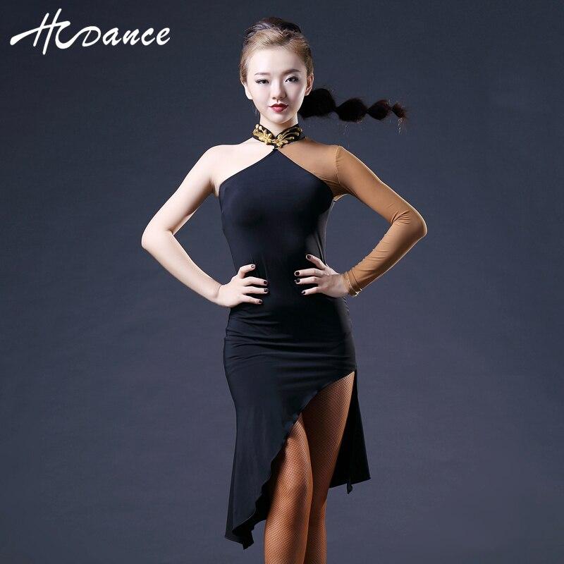 New Brand 2 Colors Latin Dance Dress Women Sleeveless Silk Sexy Latin Dance Competition Dresses Tango Dress Hot Sale HcdanceA374