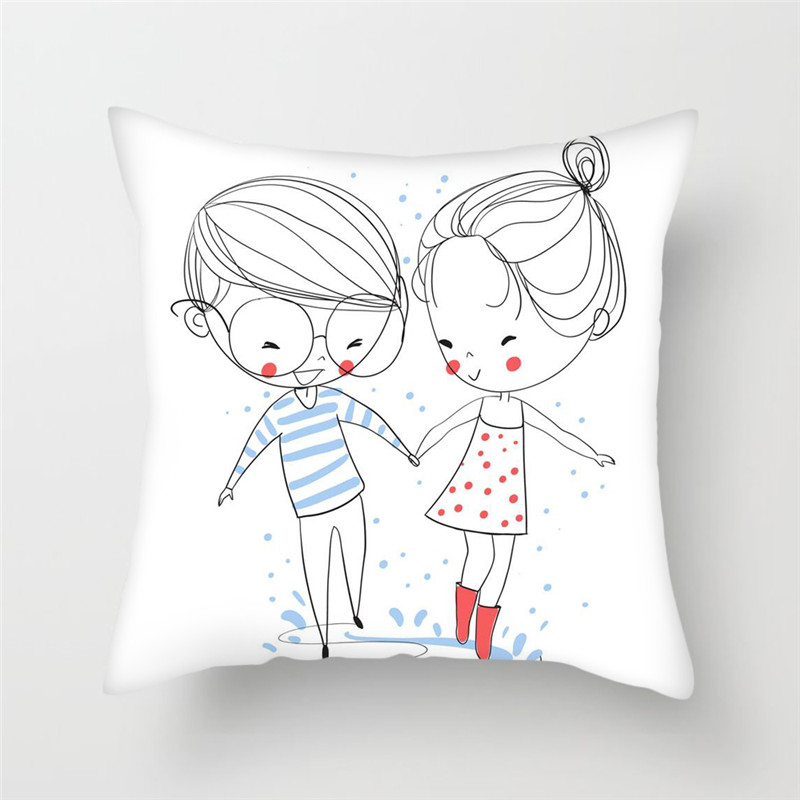 Fuwatacchi Couple Hand-painted Printed Cushion Covers Love Heart Pillow Cover For Home Office Sofa Chair Decor Pillowcases