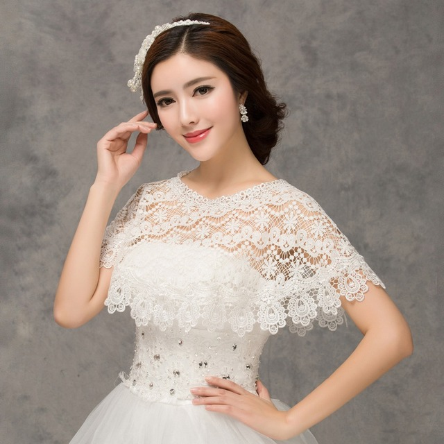 White Lace Wraps Bridal Cape Wedding Dress Bolero For Women Laced ...
