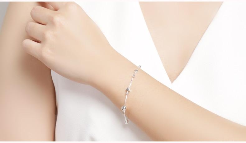 HTB1TUQfvDlYBeNjSszcq6zwhFXa1 SA SILVERAGE 925 Sterling Silver Charms Bracelets Bangles for Women 925 Silver Star Ball Chain Link Bracelets Pulseira Feminina