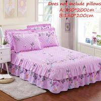 Queen Size Bed Skirt Quilted Thickened Bed Cover Chandler Bed Skirt Fitted Sheet Butterflies Printed Purple Bedspread