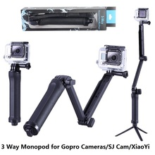 GoPro Monopod Collapsible 3 Way Monopod Mount Camera Grip Extension Arm Tripod Stand for Gopro Hero 4 2 3 3+ 2 1 SJ4000