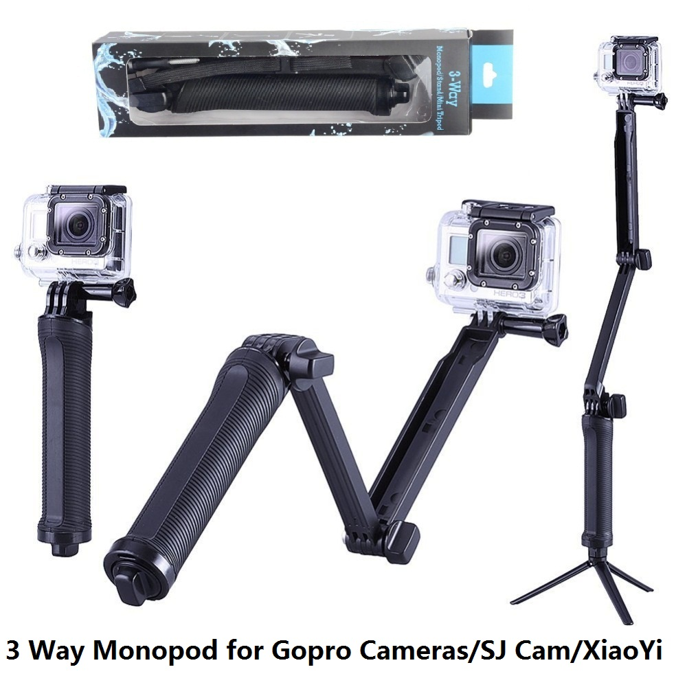 GoPro Monopod Collapsible 3 Way Monopod Mount Camera Grip Extension Arm Tripod Stand for Gopro Hero 6 5 4 3 3+ 2 1 SJ4000 fat cat m tg cnc aluminum alloy extension tactical grip for gopro hero 4 3 3 2 hd sj4000