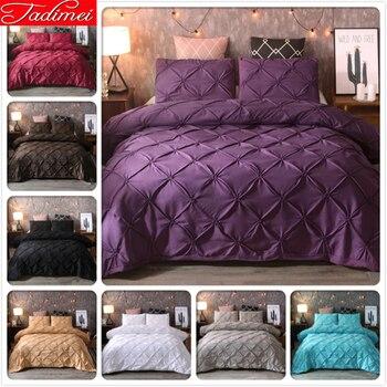 Luxury Top Quality Soft Cotton Duvet Cover 3 pcs Bedding Set Adult Bed Linen Double Queen King Size Purple Pure Color 220x240 cm