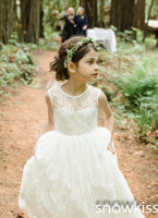 2016 New Romantic White Ivory Sheer Lace Floor Length Long Flower Girl Dresses Bridesmaid For Wedding