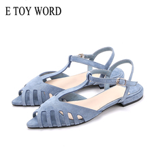 E TOY WORD Hollow Out Flat Sandals woman pointed toe Summer Beach Soft Solid shoes
