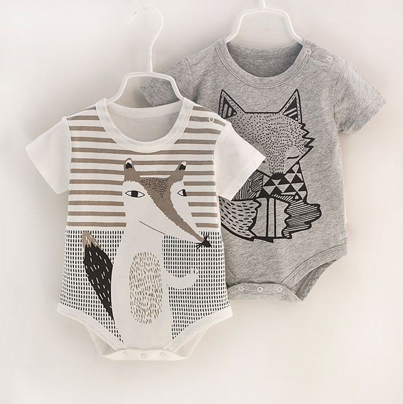 Baby   Rompers   Fox Pattern Print Short Sleeves Baby Jumpsuit Baby Boy Clothes Baby One-Pieces Outfits Girl Clothing