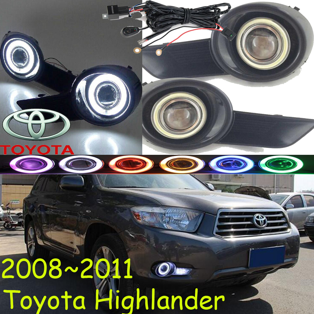 Car-styling,Highlander fog lamp,2008~2011,chrome,Free ship!2pcs,Highlander head light,car-covers,Halogen/HID+Ballast;Highlander car styling highlander daytime light 2012 2014 free ship led chrome 2pcs set highlander fog light car covers highlander