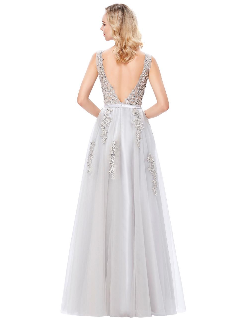 Grace Karin Tulle Appliques Celebrity Prom Dress Sexy V Back Sleeveless Long Royal Blue Robes De Soiree 2017 Longue Prom Dresses 24