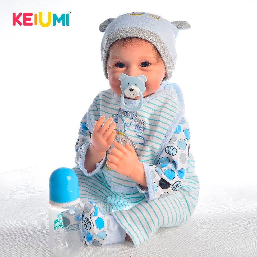 Oyuncaklar ve Hobi Ürünleri'ten Bebekler'de KEIUMI 22 ''55 cm Moda Yeniden Doğmuş Bebek Bebek Bezi Vücut Simülasyon Bebek Bebek Oyuncak Gibi Gerçek Gülümseme Yüz çocuklar Doğum Günü Xmas Hediye'da  Grup 1