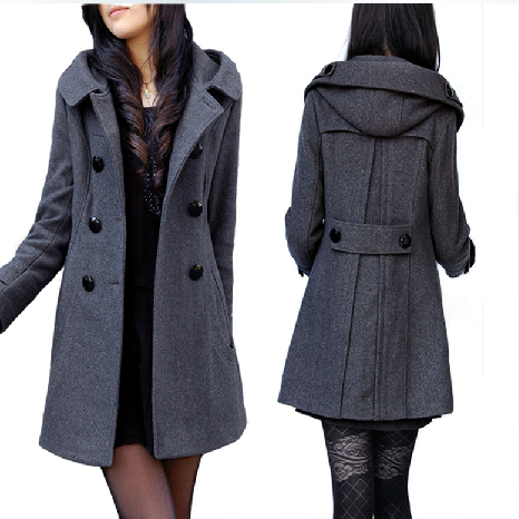 Solid  Double Breasted  Hooded Wool Coat  Women Winter Casual Thick Warm Woolen Jacket Plus Size Long Women Outerwear A142