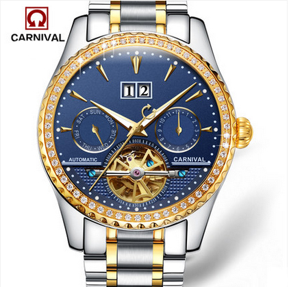Hot New 2017 Famous Brand Watch Carnival Luxury Men Business Watches Automatic Mechanical Watch Steel Strap Waterproof 8731G
