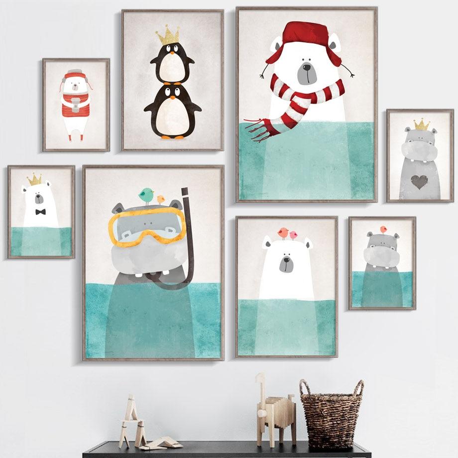 Akwarela Hippo Niedźwiedź Pingwin Nordic Plakaty i reprodukcje Wall Art Canvas Painting Zwierzęta Zdjęcia ścienny do pokoju dziecięcego Home Decor