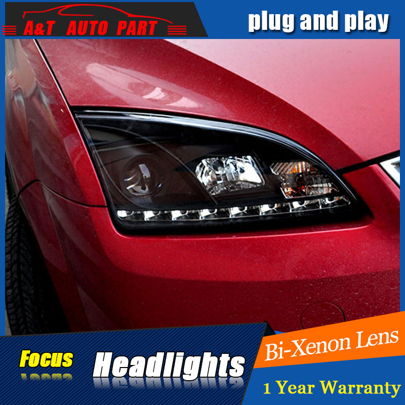 New car Styling LED Head Lamp for Ford Focus led headlights 2005-2007 for Focus drl H7 hid Bi-Xenon Lens angel eye low beam auto part style led head lamp for bmw 5 series led headlights for 520li 525li drl h7 hid bi xenon lens angel eye low beam