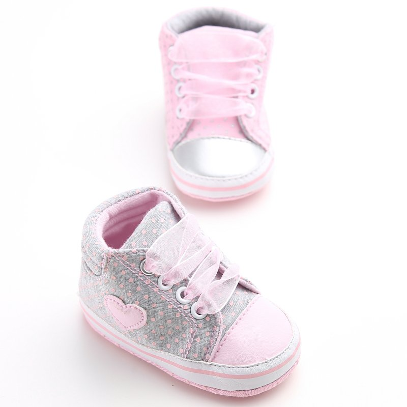 2019 Infant Newborn Baby Girls Dots Heart Autumn Lace-Up First Walkers Sneakers Shoes Toddler Classic Casual Shoes