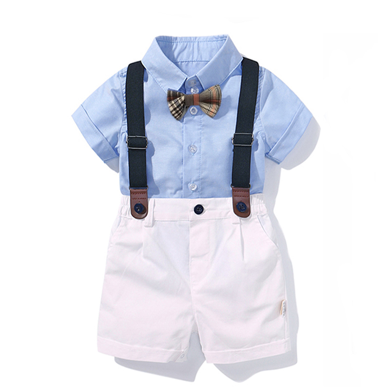 Solid shirt strap trousers suspenders bow tie 4 piece suit blue Baby Clothes Boy