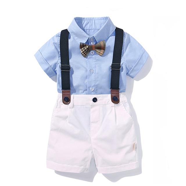 Conjunto de roupas para Meninos Bebê Arco Aniversário Formal de Terno Verão Bebê Recém-nascido Roupas Definir Camisa Azul Top + Suspender Calças outfits