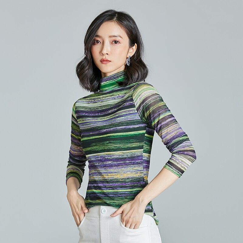 Harajuku plus size women mesh tops knitting clothes comfy   blouses     shirt   turtleneck long sleeve women rainbow striped   blouse