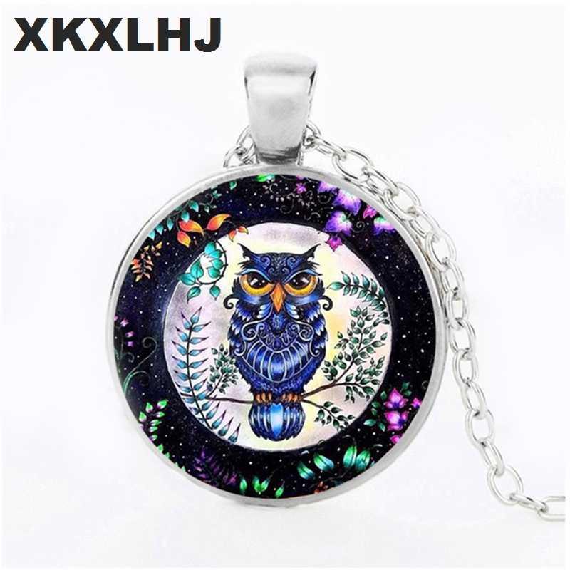 Nueva moda búho collar joyería cristal cabujón tiempo gema colgante pájaro imagen suéter collar mujer joyería de moda