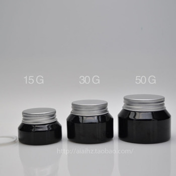 50pieces empty High quality 30g shiny black cream jar with silver lid, 30g cosmetic glass jar or cream container,eye cream jar