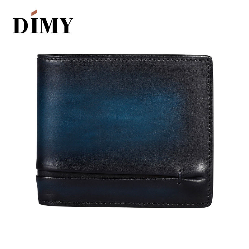 DIMY Genuine Leather Wallets For Women Vintage Style Purses Holder Ruched Short Men Wallet Multi-functional Cowhide Card Purses