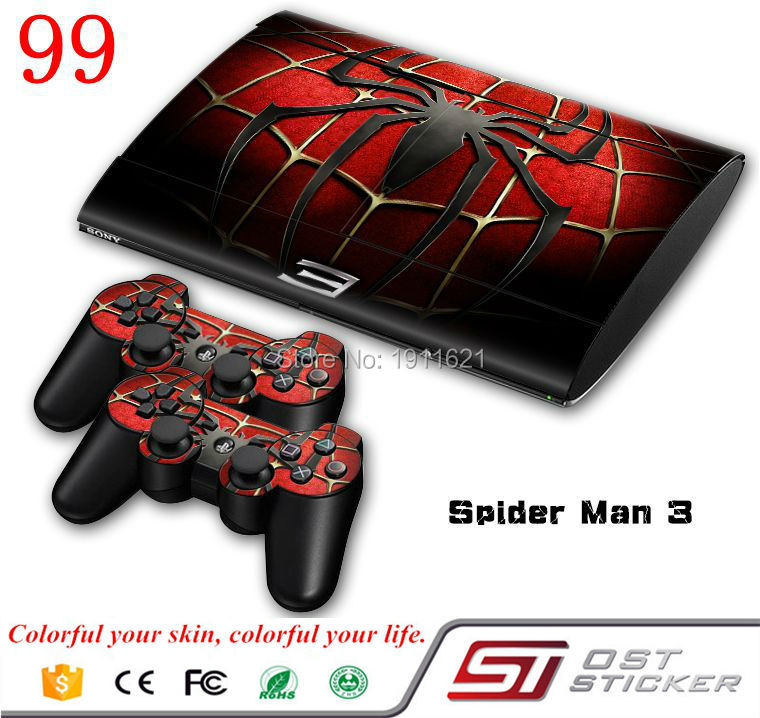 New spiderman protector skin decal cover for ps3 super slim and 2 controller skins