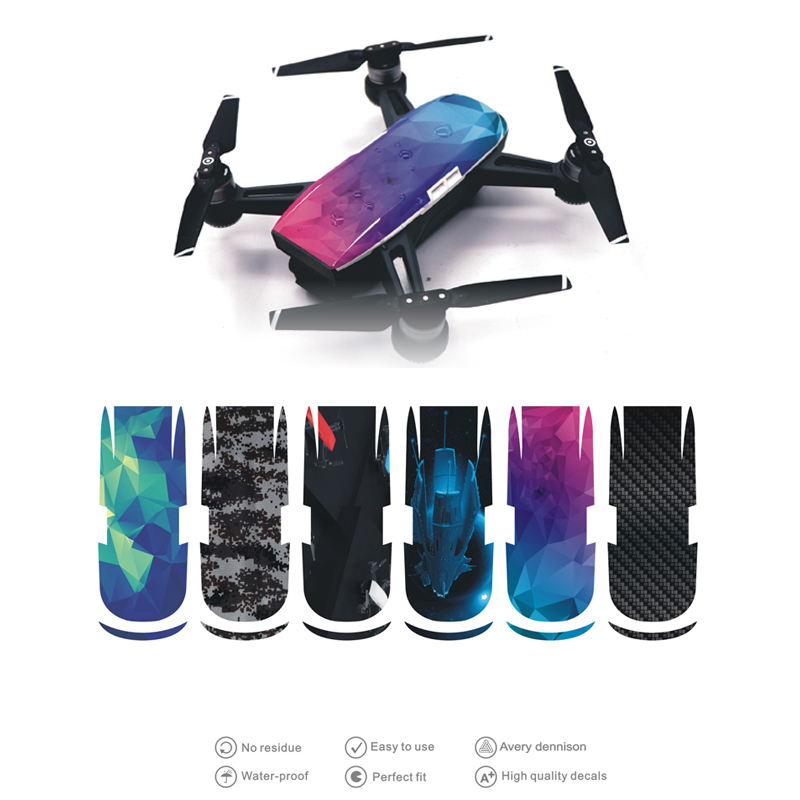 6pcs For DJI Spark Drone Body Sticker Waterproof PVC Carbon Fiber For DJI Spark Decorative Skin Decals For DJI SPARK Accessories