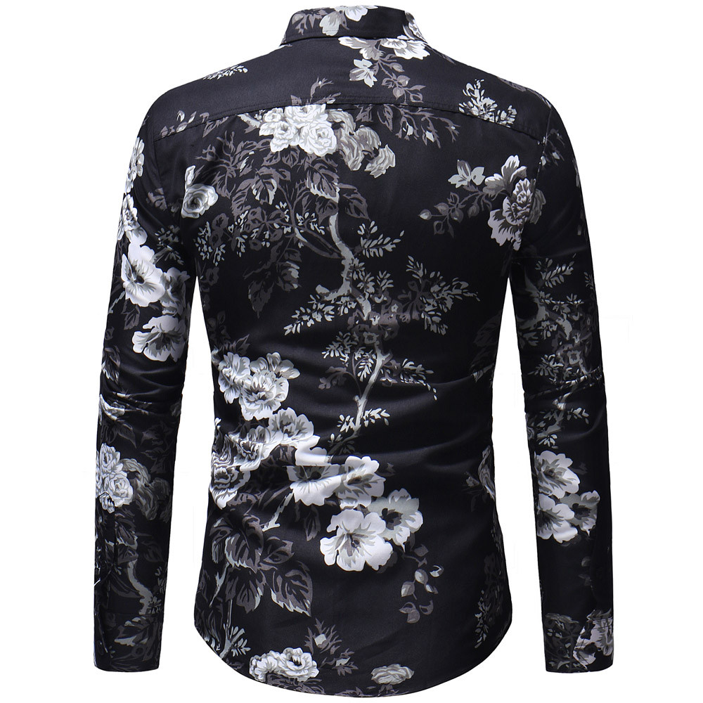 Mens Shirt Long Sleeve Korean Shirt Casual Print Floral Shirt Shirt Turn-Down Collar Sleeve