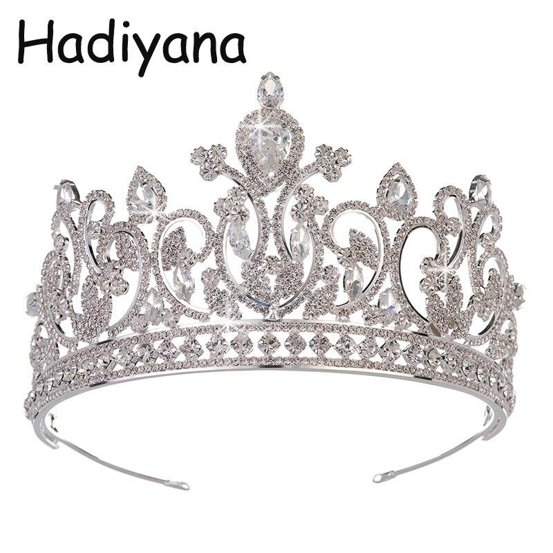 Hadiyana2018 mode floral conception grande couronne avec zircon cubique brillant mariée reine beauté beauté couronne HG6059