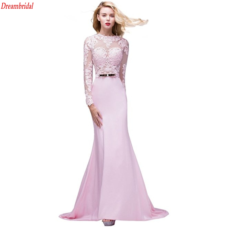Dreambridal 2017 pink New Hot Selling Custom Wedding Dresses Vestido de Noiva Long sleeve Mariage Mermaid Lace Backless Sashes