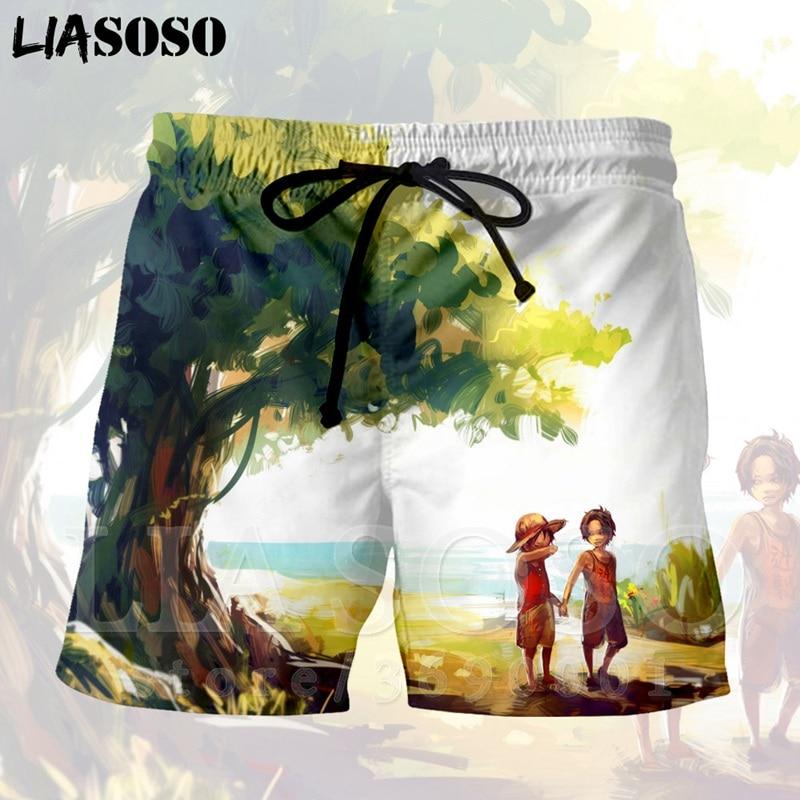 LIASOSO 3d Print Japan Anime One Piece Monkey D Luffy Sanji Men's Shorts Beach Cool Summer Brand Shorts Good Quality X1346
