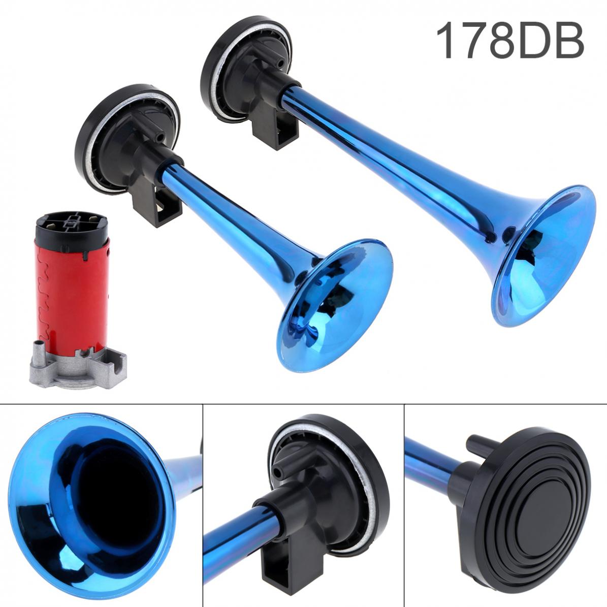 178dB Super Loud 12V Dual Tone Auto Car Air Claxon Horn High Output Compressor Set Trumpet for Motorcycle Boat Truck