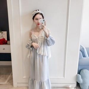 Image 5 - Girl Robe Lace Robe Set Women Princess Vintage Homewear set Sleepwear Robes Autumn
