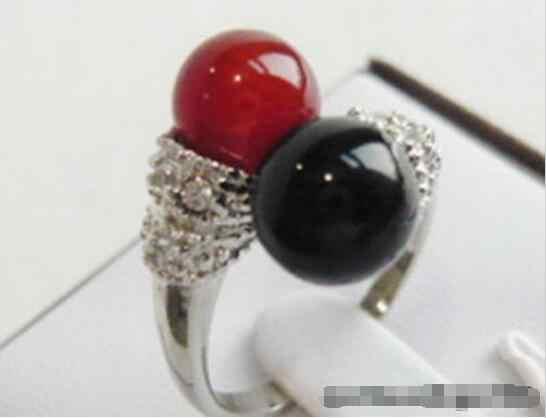 ร้อนขายรูปแบบใหม่>>>>แดงหินหินสีดำ18 KWGPขนาดแหวนคริสตัล: 6.7.8.9
