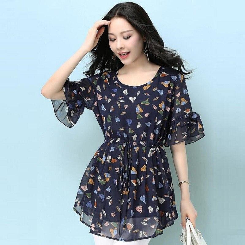 Grande taille haut pour femme été 2019 nouveau mousseline de soie imprimé fleuri O cou coréen mode femme vêtements longue chemise femme tunique DD2142