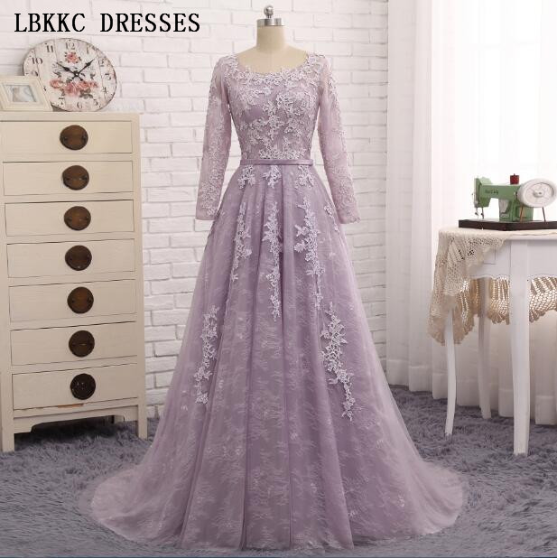 Robe De Soiree 2019 Long Sleeves   Evening     Dress   Light Purple Lace Long Formal Party Gown Abendkleider