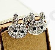 2015 New High-Quality Women Crystal Earrings Jewelry Cute Little Bunny Earrings Wholesale Imitation Diamonds Free Shipping