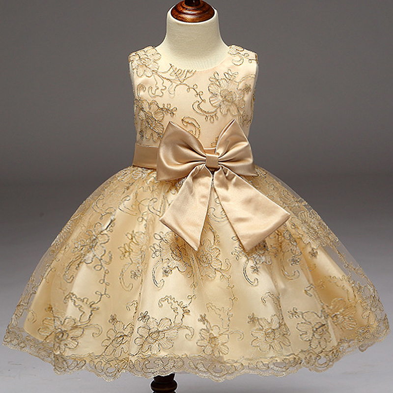 2017 Baby Girls Infant Embroidery Dress kids Gold Wedding ...