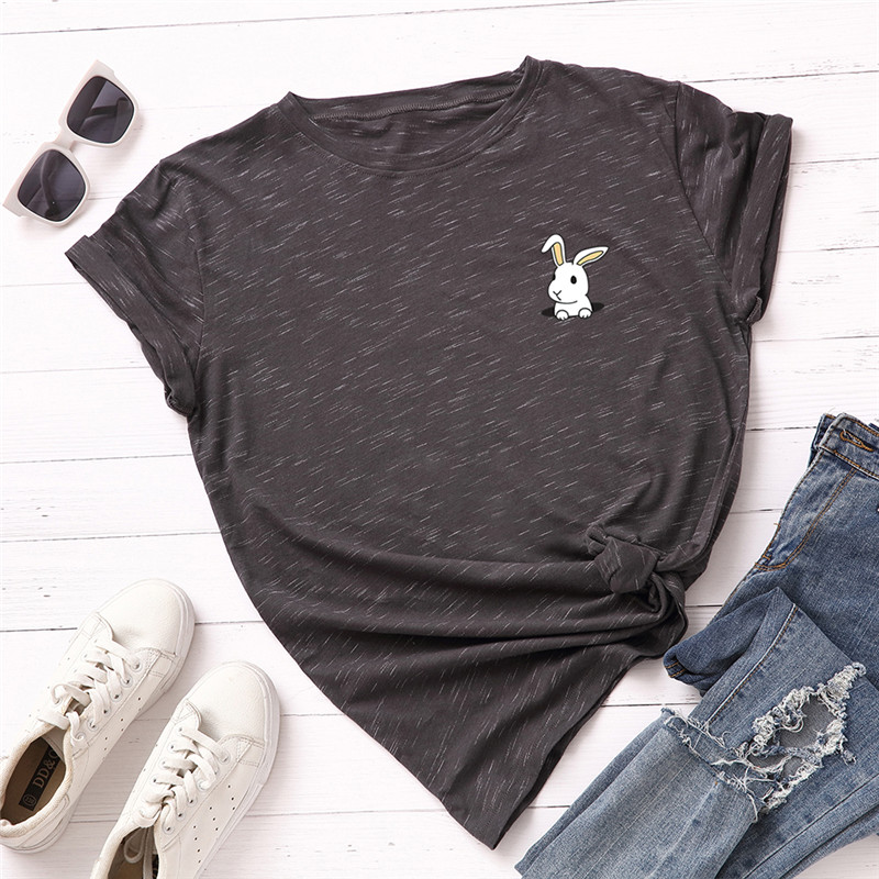 Plus Size S-5XL Lovely Rabbit Print <font><b>TShirt</b></font> <font><b>Women</b></font> Shirts 100%<font><b>Cotton</b></font> O Neck Short Sleeve Summer T Shirt Tops <font><b>Women</b></font> T-shirt image