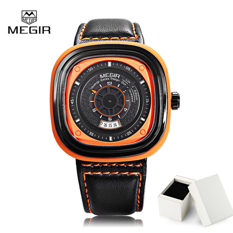 Original MEGIR Men Watch Luxury Quartz Watches Sport Casual Wristwatch Square Dial Calendar Chronograph Relogio Masculino 2027