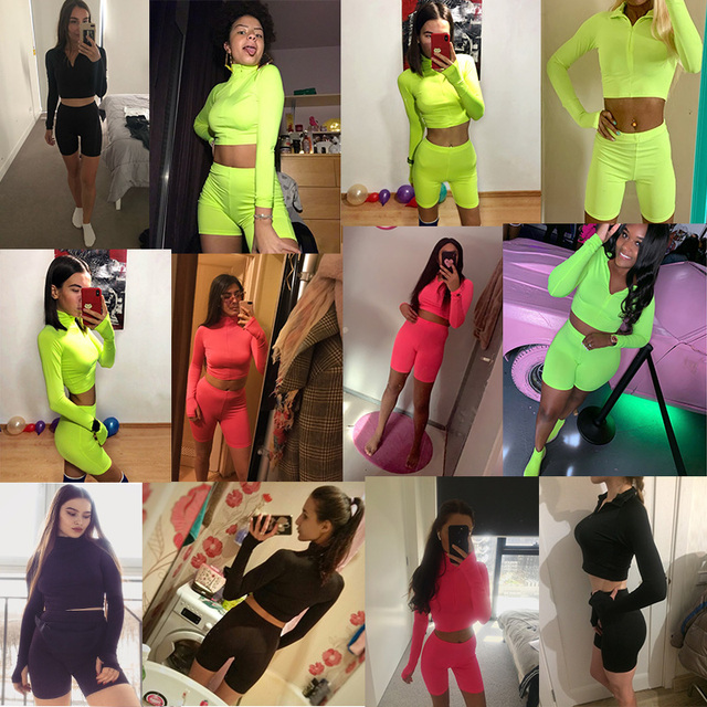 2019 Summer Tracksuits Sets Women Suits Fashion Solid 3-colors Regular Long Sleeve Sexy Club V-neck Women Suit Costume 2