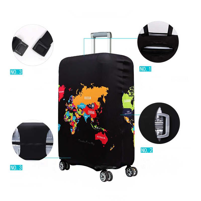 QIAQU Dünya Haritası Elastik Kalın Bagaj Kapağı Bagaj Çantası için geçerlidir 18 ''-32'' Bavul Koruyucu Kapak seyahat Aksesuarları
