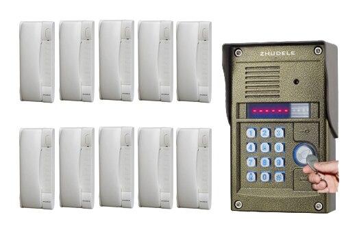 Zhudele Luxury Interphone For 10 Apartments Intercom System Home Security Audio Door Phone Waterproof Utdoor Station In Stock