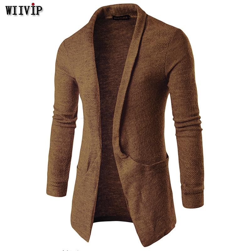 Wiivip Long Cardigans Men With Big Pocket Sweater Men New Autumn Outwear Fashion Street Wear Mz420