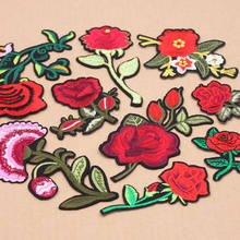 1Pcs/Lot Beautiful Patches Red Rose Flower Embroidery Motif Applique Women DIY Clothes Sticker Wedding Patch Ornament Dress(China)