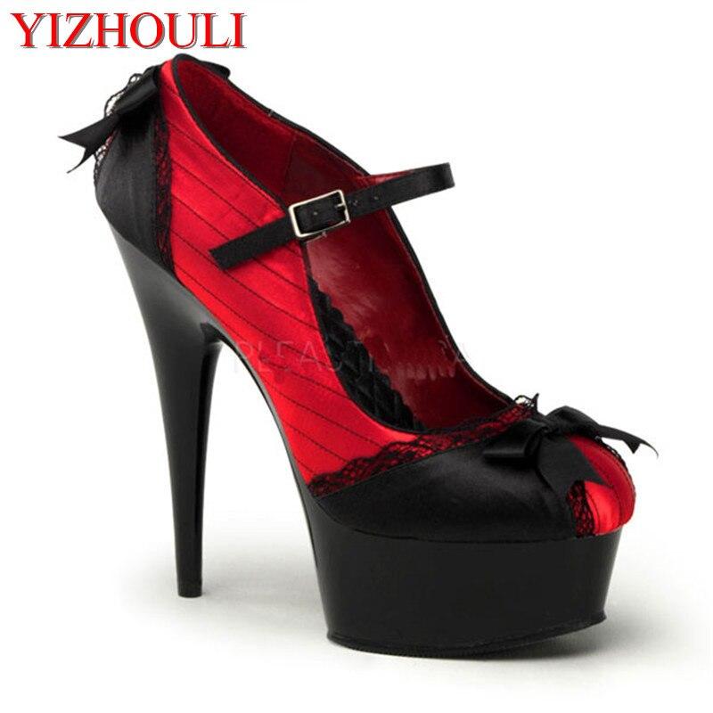 패션 천으로 물고기 머리와 매우 높은 예쁜 기질 여성 신발 15 cm 하이힐은 새로운 신발을 보여줍니다-에서여성용 펌프부터 신발 의  그룹 1