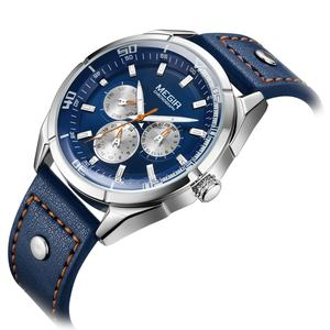Megir Brand Men's Blue Leather