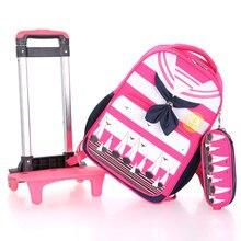 Kinder Mädchen Jungen Schulrucksack Rad Trolley Gepäck Reisetasche Kinder Rollende Buch Tasche Removable Mode Matrosenkragen Decor