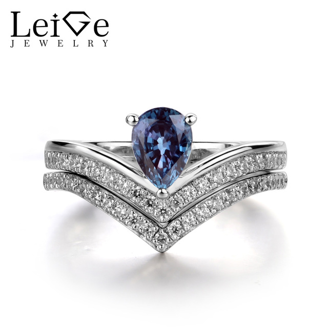Leige Jewelry Pear Cut Alexandrite Ring Women Wedding Engagement Rings Set 925 Sterling Silver Jewelry Color Change Gemstone